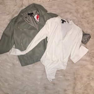 Off-white, cross-front leotard